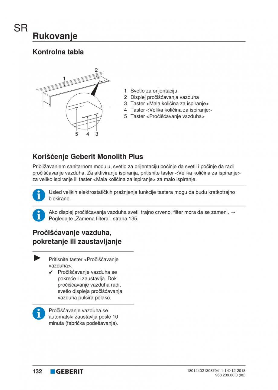 Pagina 132 - Manualul utilizatorului pentru modulul sanitar Monolith Plus GEBERIT Monolith...