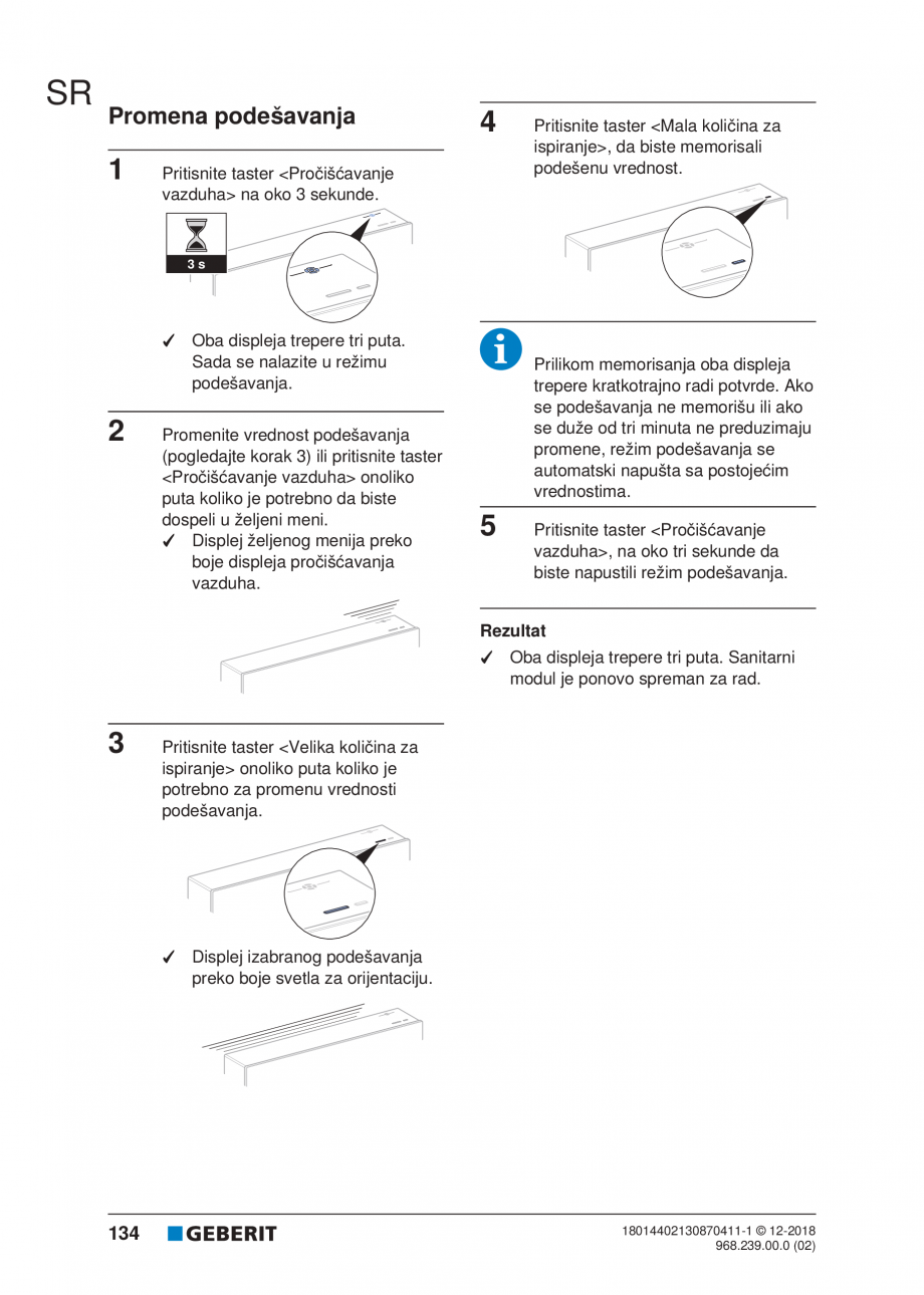Pagina 134 - Manualul utilizatorului pentru modulul sanitar Monolith Plus GEBERIT Monolith...
