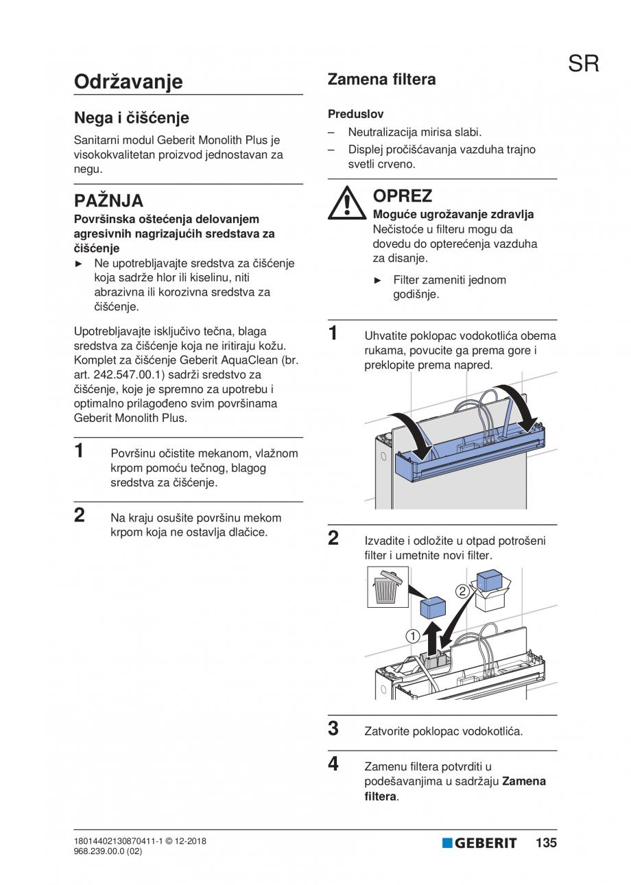 Pagina 135 - Manualul utilizatorului pentru modulul sanitar Monolith Plus GEBERIT Monolith...