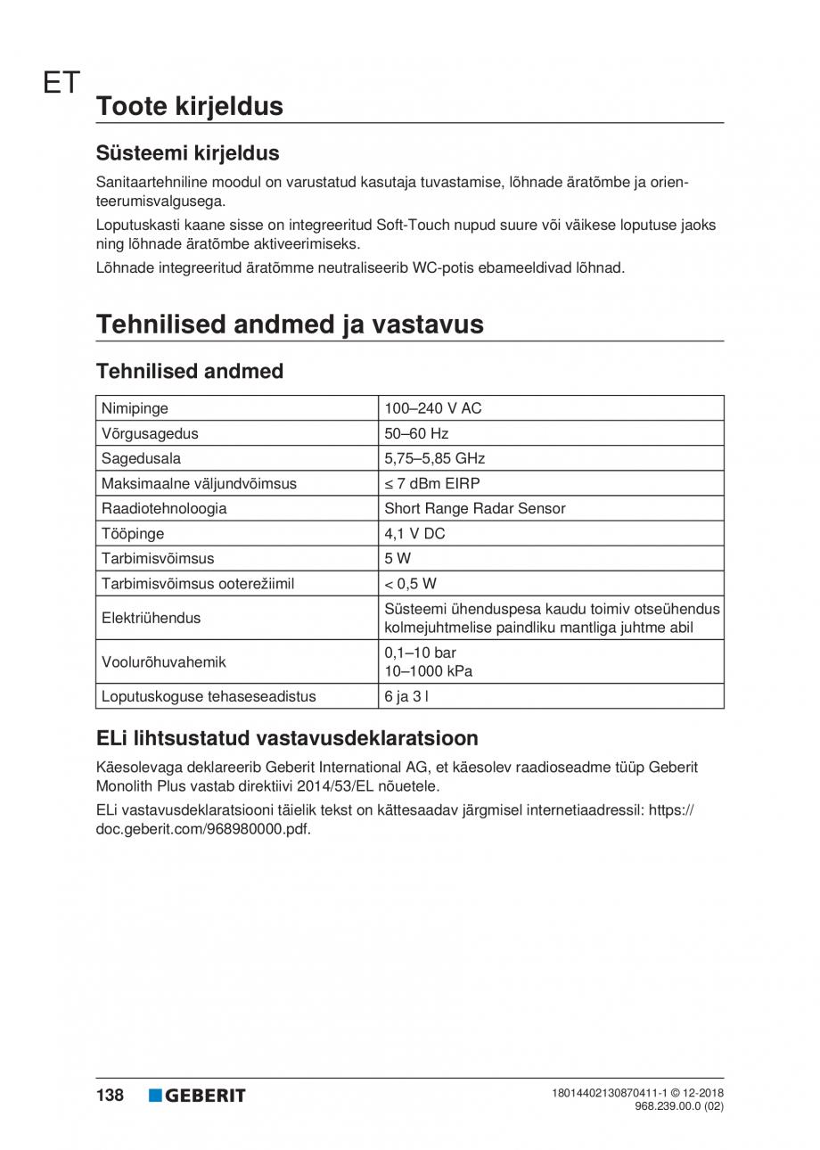 Pagina 138 - Manualul utilizatorului pentru modulul sanitar Monolith Plus GEBERIT Monolith...