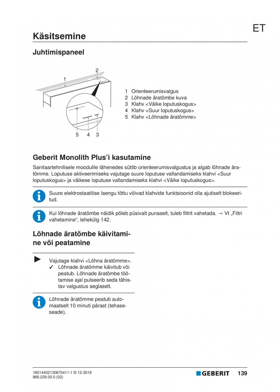 Pagina 139 - Manualul utilizatorului pentru modulul sanitar Monolith Plus GEBERIT Monolith...