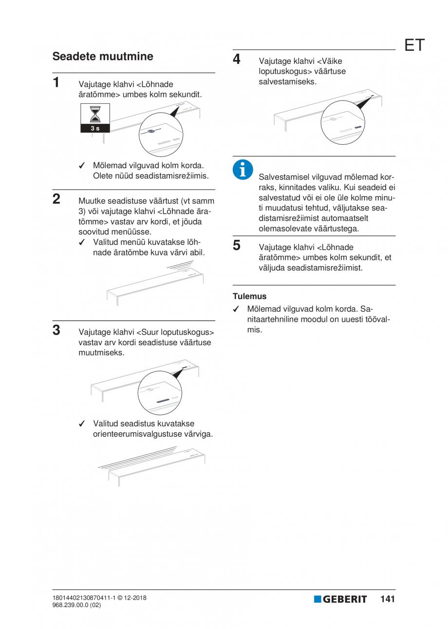 Pagina 141 - Manualul utilizatorului pentru modulul sanitar Monolith Plus GEBERIT Monolith...