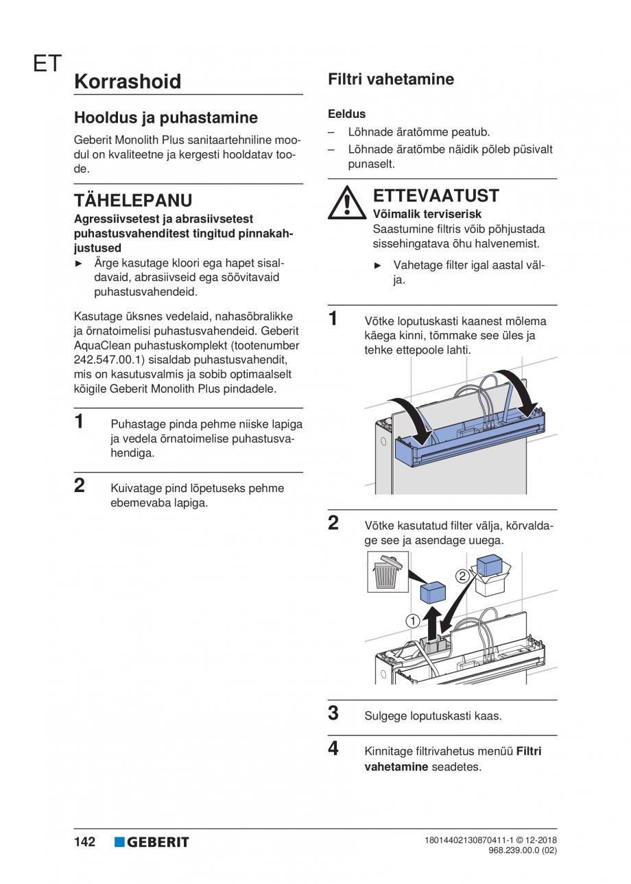 Pagina 142 - Manualul utilizatorului pentru modulul sanitar Monolith Plus GEBERIT Monolith...
