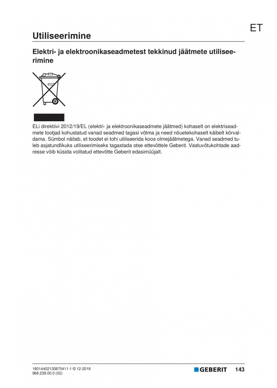 Pagina 143 - Manualul utilizatorului pentru modulul sanitar Monolith Plus GEBERIT Monolith...