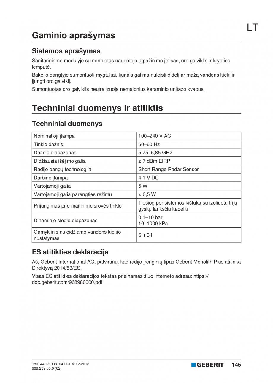 Pagina 145 - Manualul utilizatorului pentru modulul sanitar Monolith Plus GEBERIT Monolith...