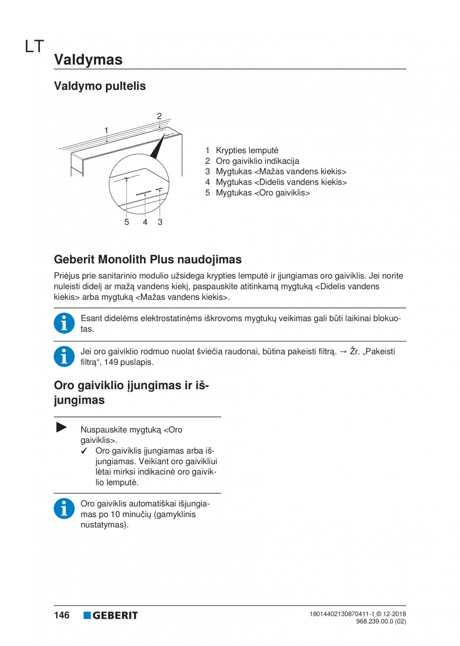 Pagina 146 - Manualul utilizatorului pentru modulul sanitar Monolith Plus GEBERIT Monolith...