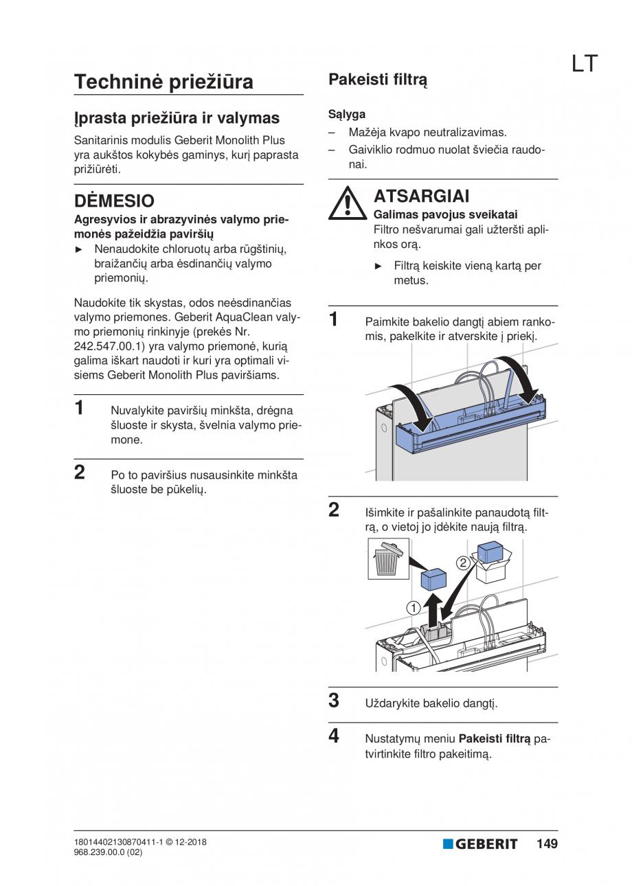 Pagina 149 - Manualul utilizatorului pentru modulul sanitar Monolith Plus GEBERIT Monolith...