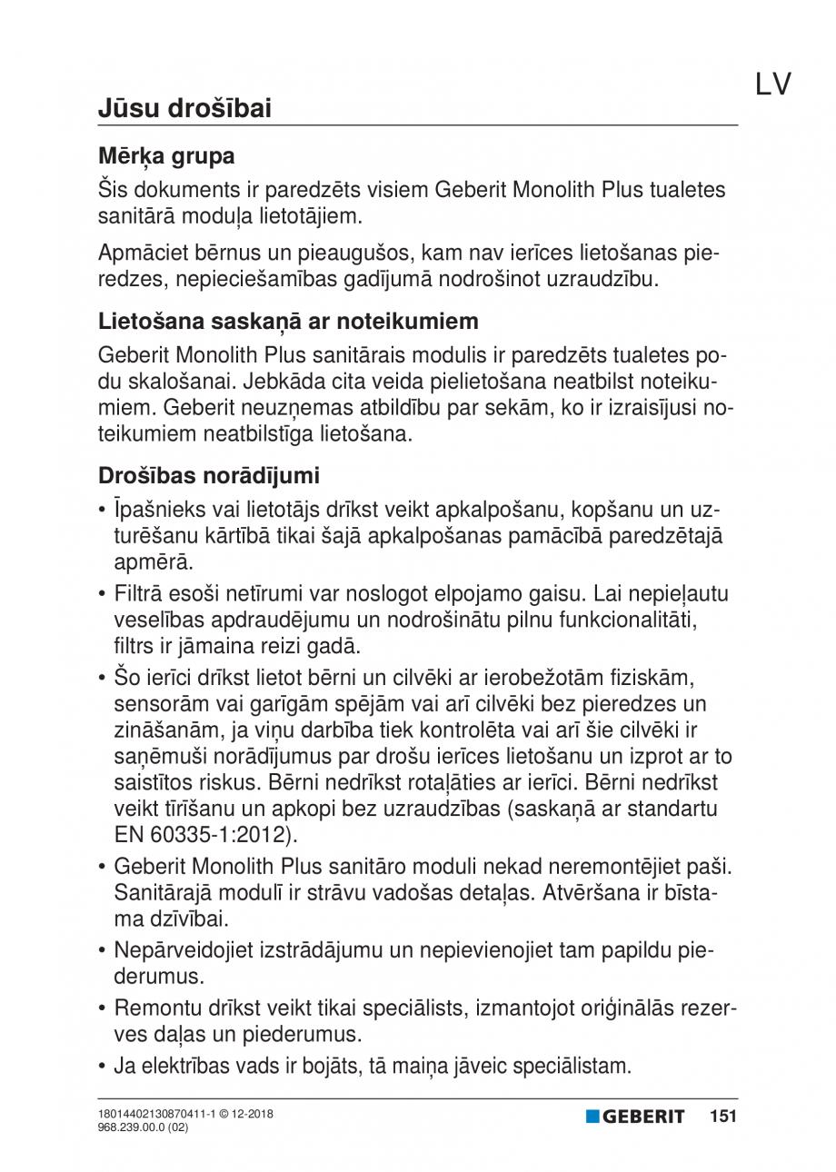 Pagina 151 - Manualul utilizatorului pentru modulul sanitar Monolith Plus GEBERIT Monolith...