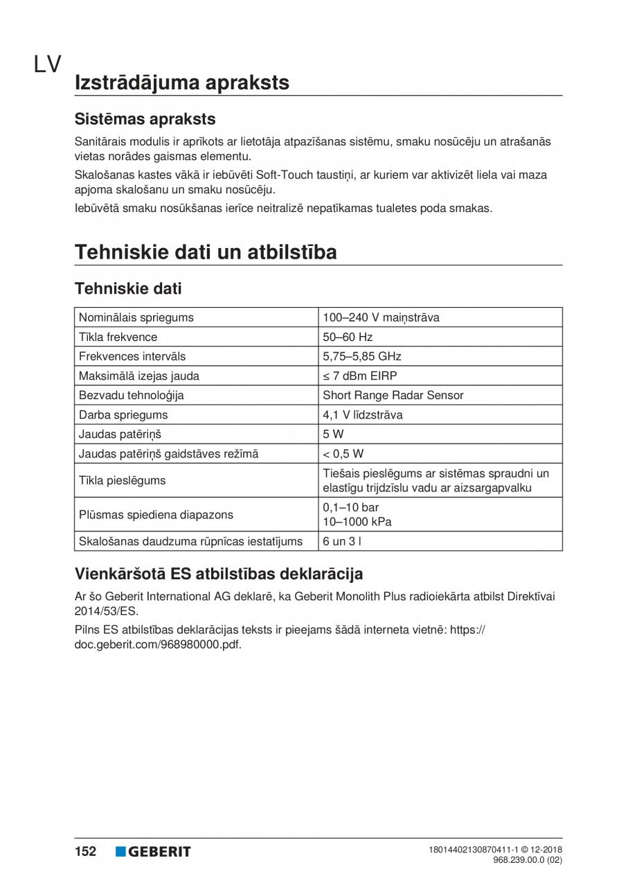 Pagina 152 - Manualul utilizatorului pentru modulul sanitar Monolith Plus GEBERIT Monolith...