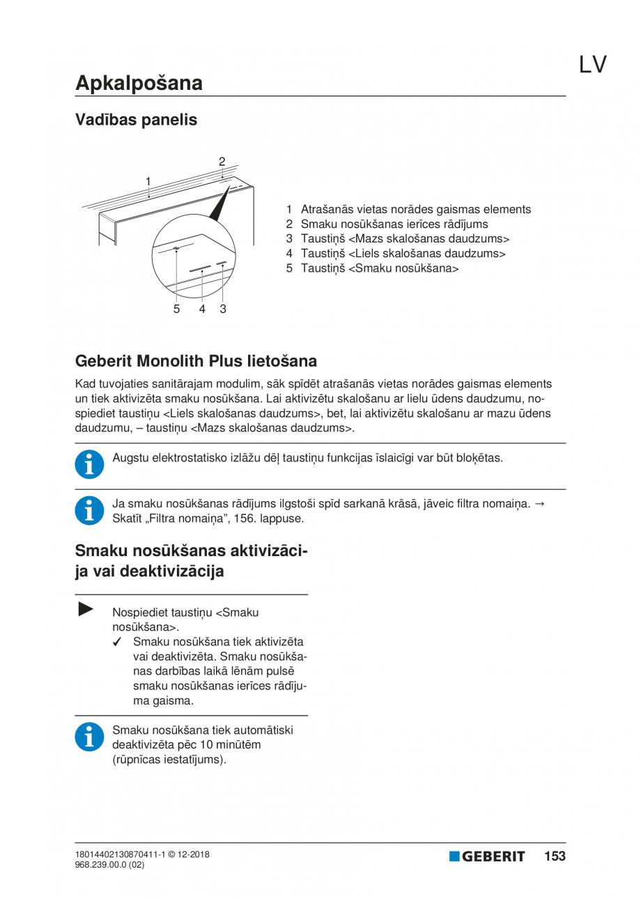 Pagina 153 - Manualul utilizatorului pentru modulul sanitar Monolith Plus GEBERIT Monolith...