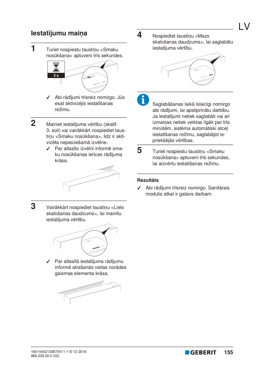 Pagina 155 - Manualul utilizatorului pentru modulul sanitar Monolith Plus GEBERIT Monolith...