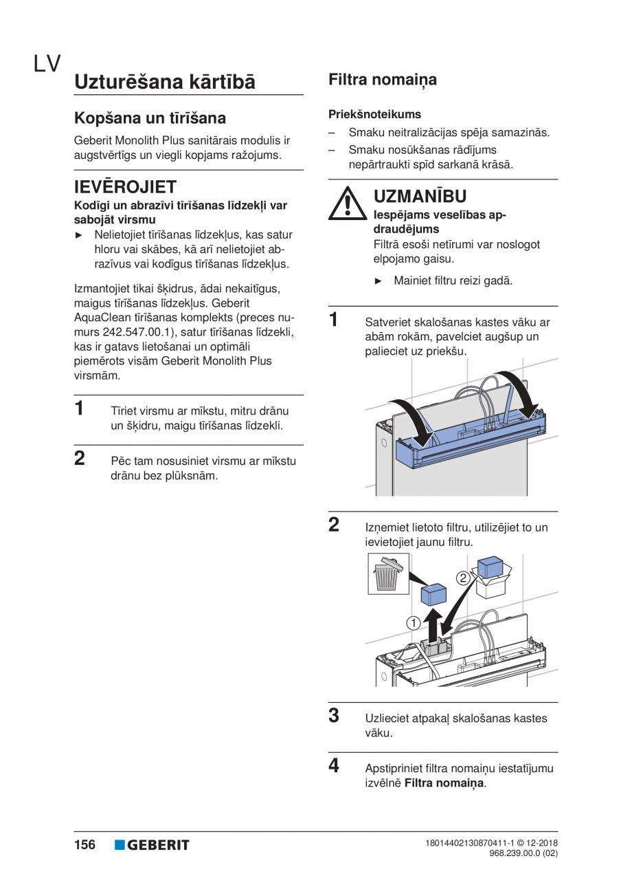 Pagina 156 - Manualul utilizatorului pentru modulul sanitar Monolith Plus GEBERIT Monolith...