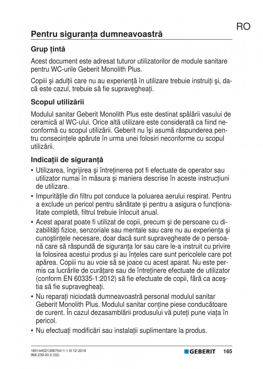 Pagina 165 - Manualul utilizatorului pentru modulul sanitar Monolith Plus GEBERIT Monolith...