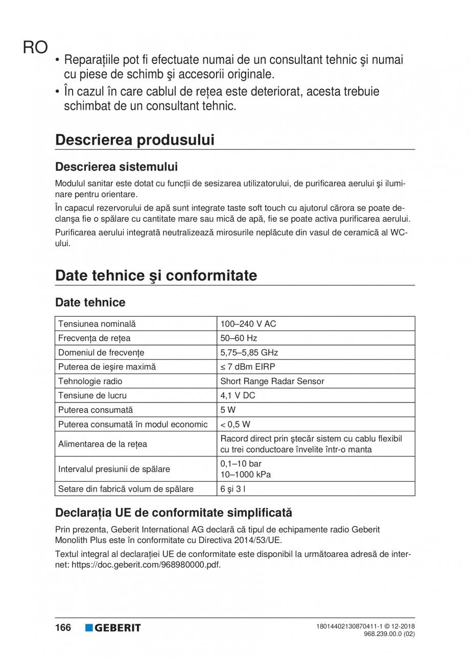 Pagina 166 - Manualul utilizatorului pentru modulul sanitar Monolith Plus GEBERIT Monolith...