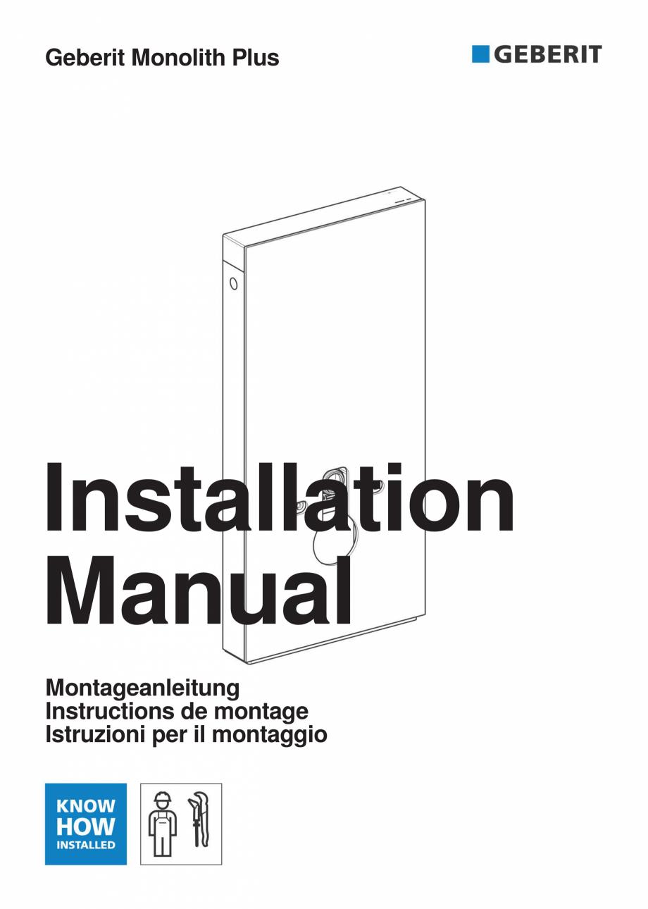 Pagina 1 - Instructiuni de instalare pentru modulul sanitar Monolith Plus GEBERIT Monolith...