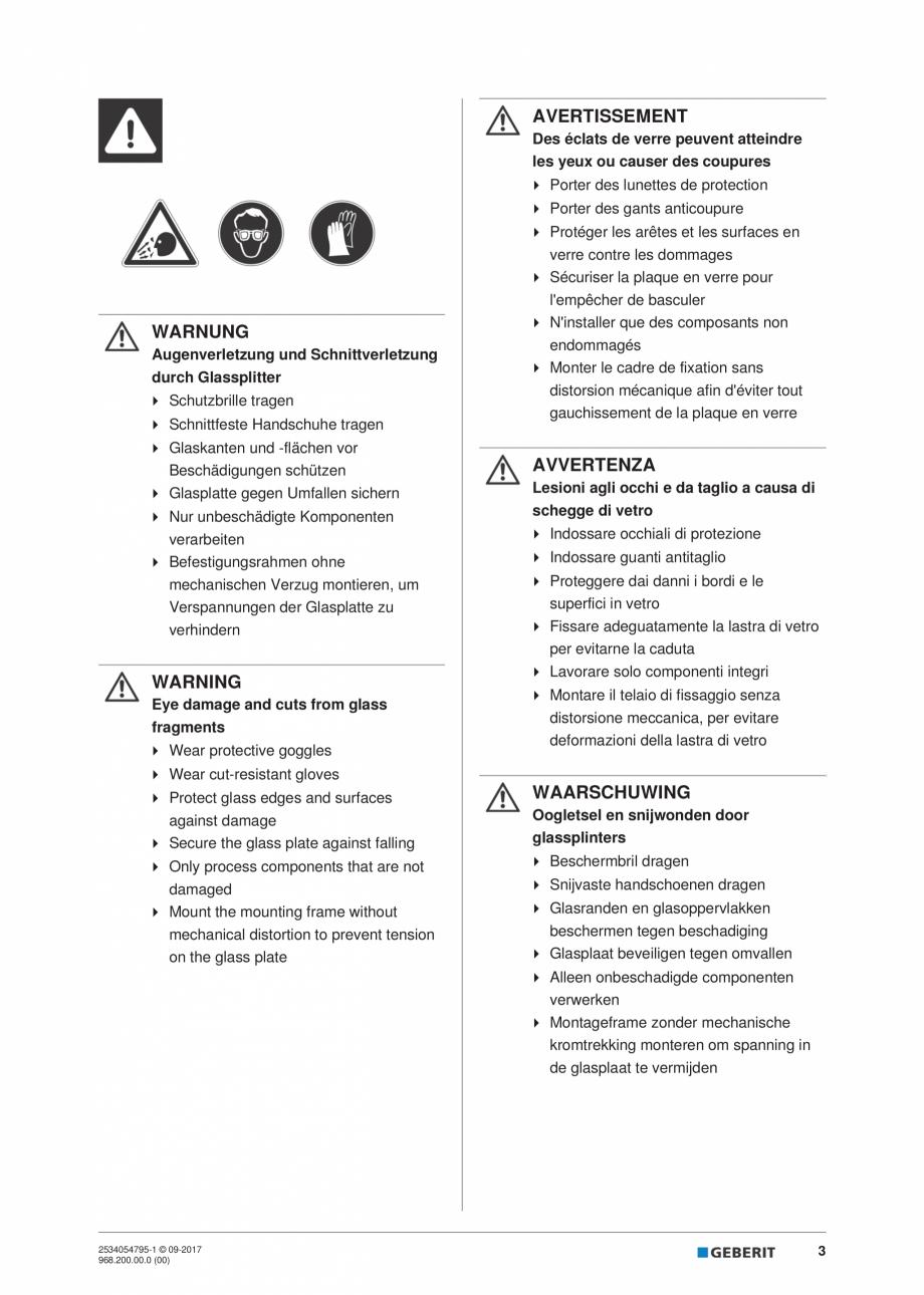 Pagina 3 - Instructiuni de instalare pentru modulul sanitar Monolith Plus GEBERIT Monolith...