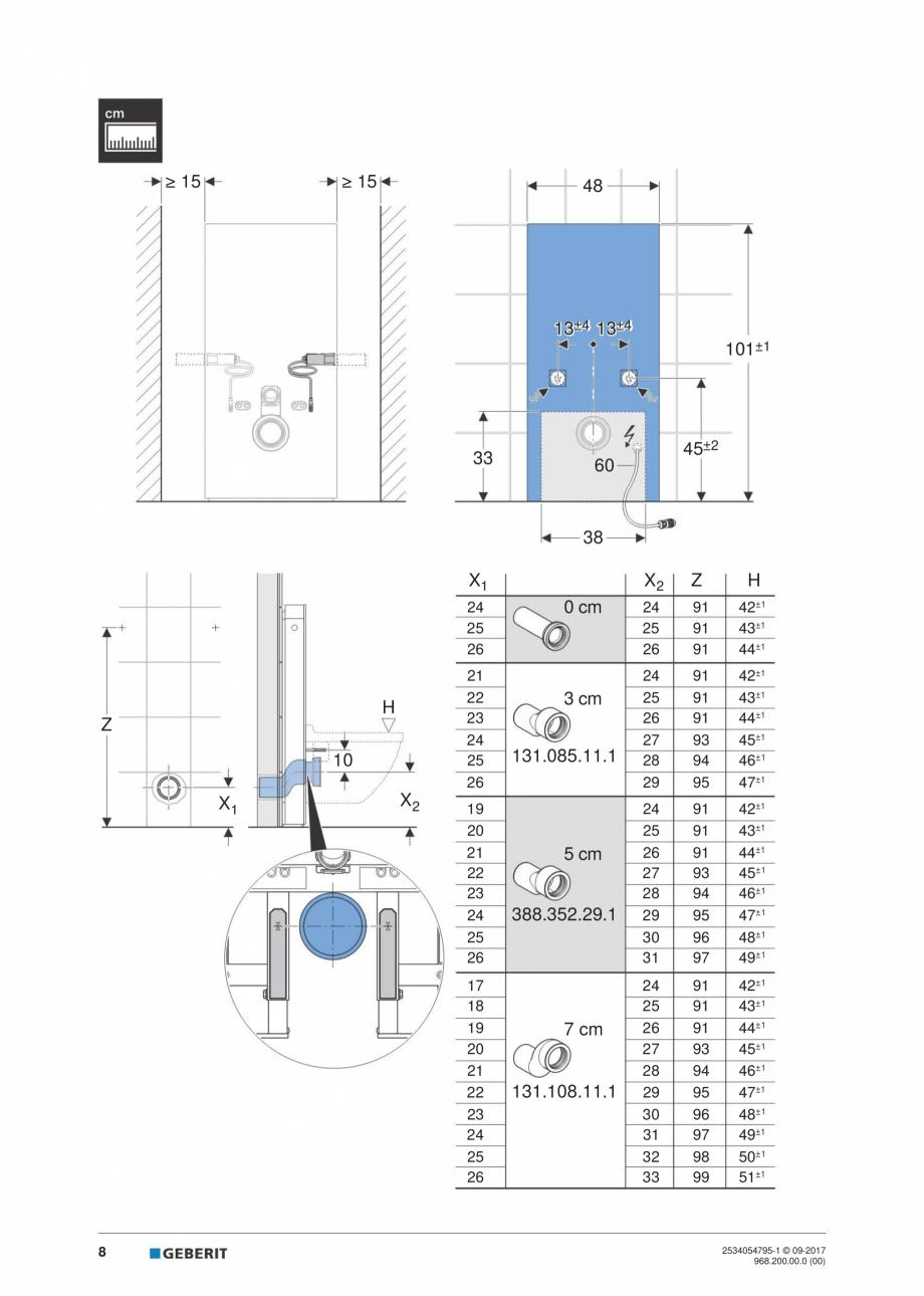 Pagina 8 - Instructiuni de instalare pentru modulul sanitar Monolith Plus GEBERIT Monolith...