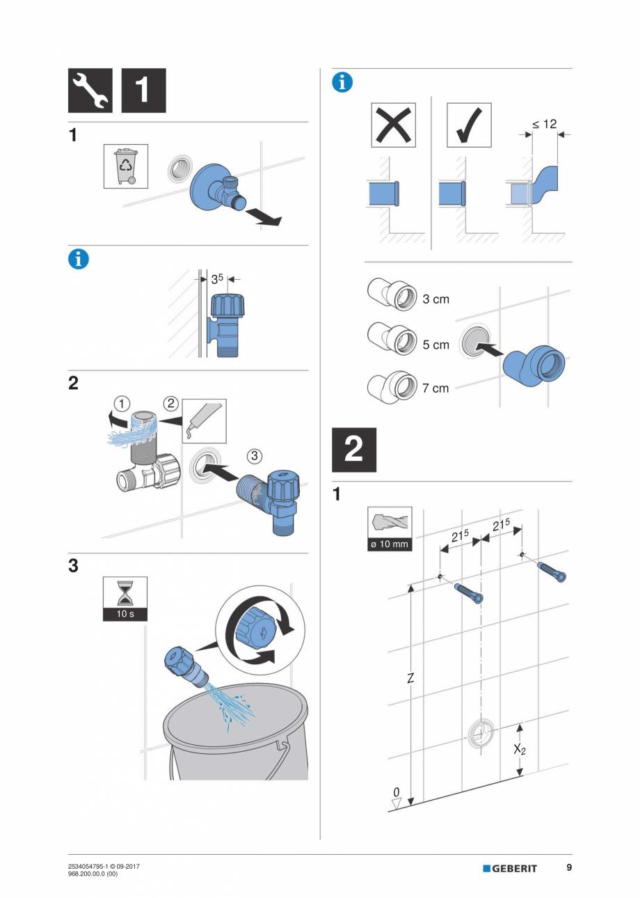 Pagina 9 - Instructiuni de instalare pentru modulul sanitar Monolith Plus GEBERIT Monolith...