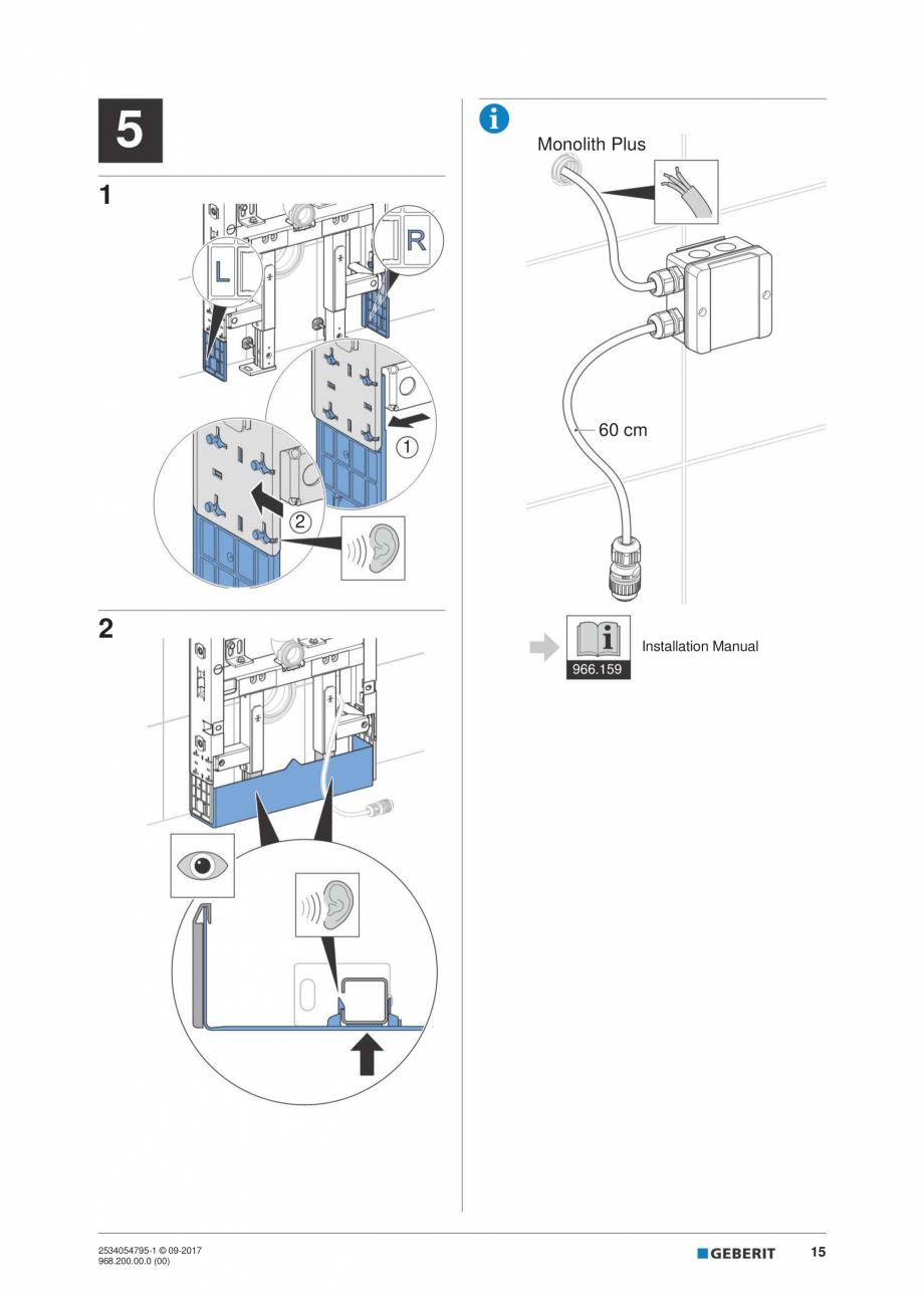 Pagina 15 - Instructiuni de instalare pentru modulul sanitar Monolith Plus GEBERIT Monolith...
