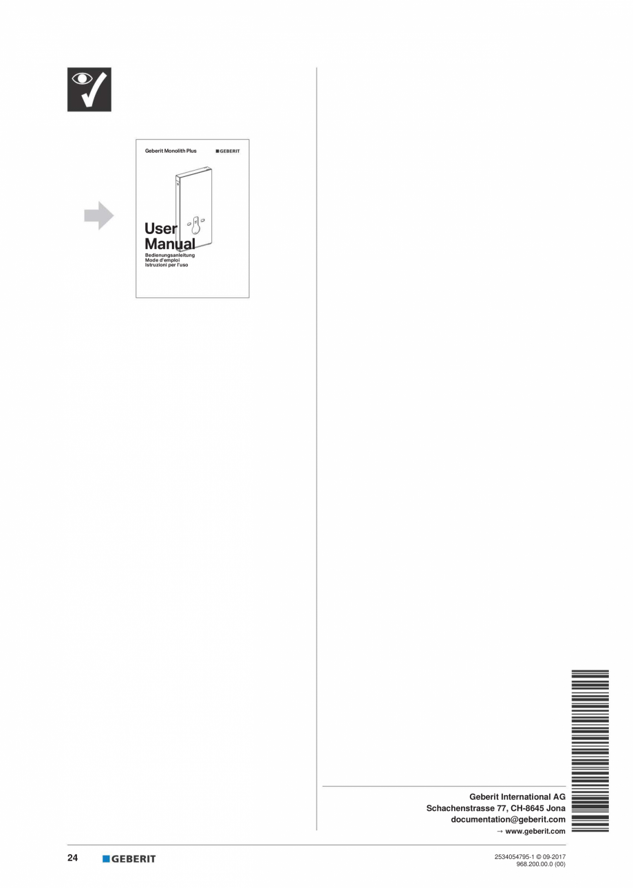 Pagina 24 - Instructiuni de instalare pentru modulul sanitar Monolith Plus GEBERIT Monolith...