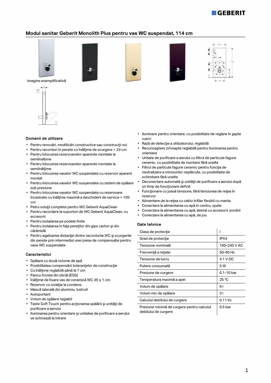 Pagina 1 - Modul sanitar Geberit Monolith Plus pentru vas WC suspendat, 114 cm GEBERIT Monolith Fisa...