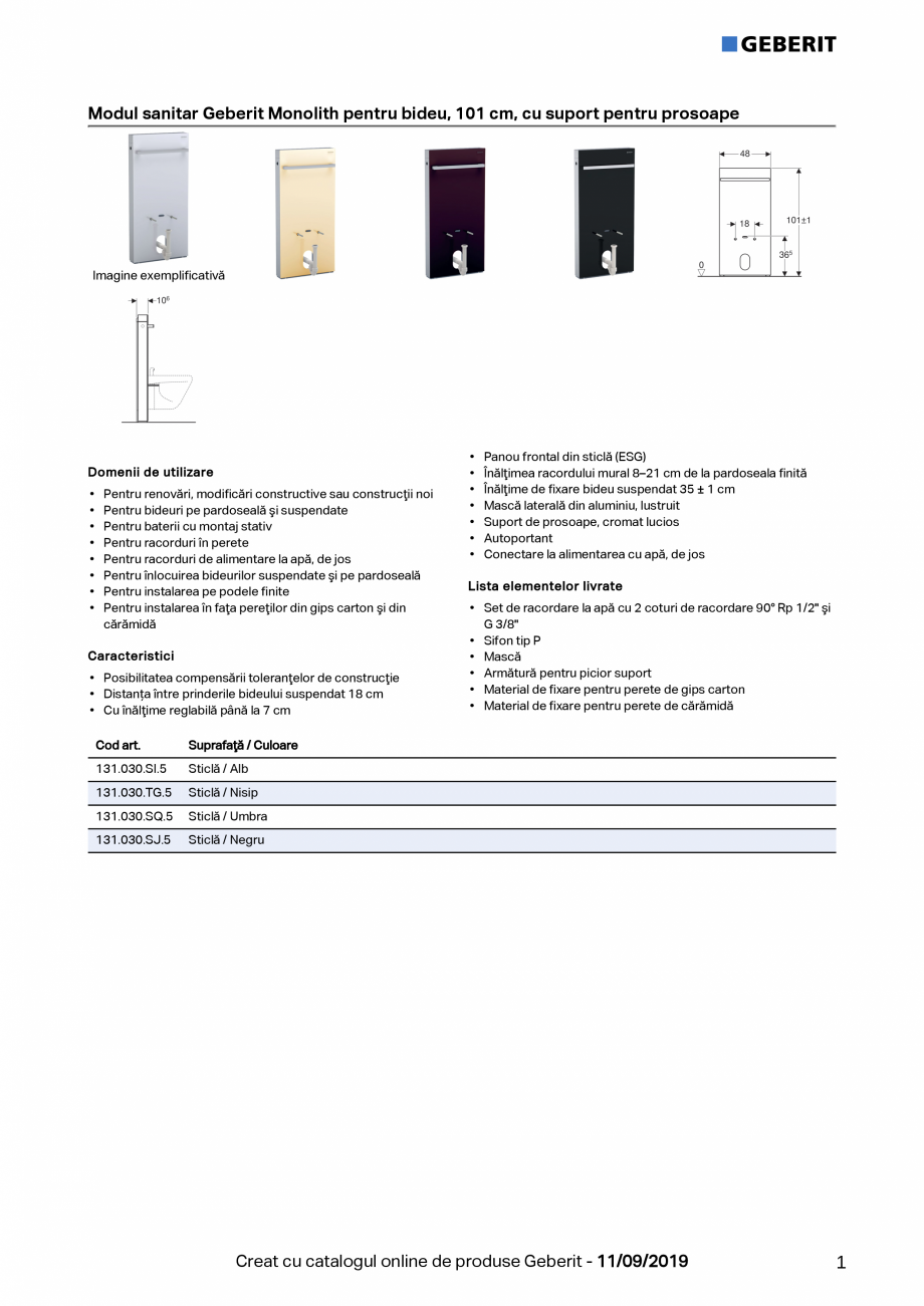 Pagina 1 - Modul sanitar Geberit Monolith pentru bideu, 101 cm GEBERIT Monolith Fisa tehnica Romana ...