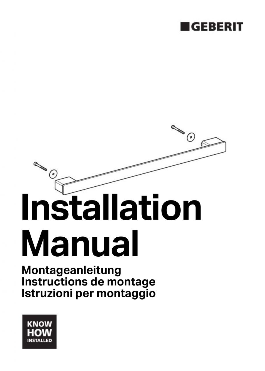 Pagina 1 - Instructiuni de montaj pentru modul sanitar pentru bideu GEBERIT Monolith Instructiuni...