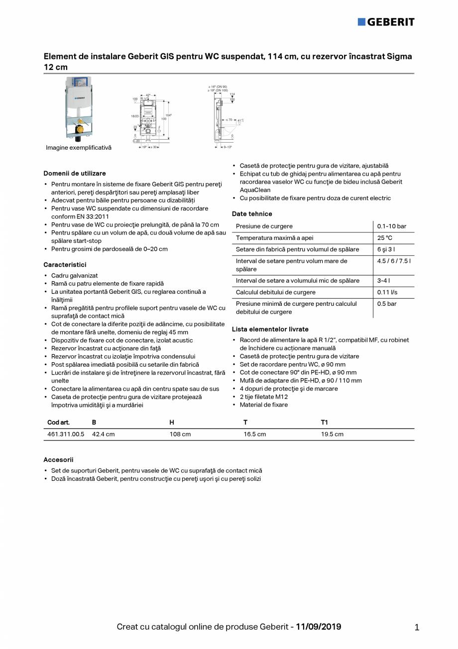 Pagina 1 - Element de instalare Geberit GIS pentru WC suspendat, 114 cm, cu rezervor incastrat Sigma...