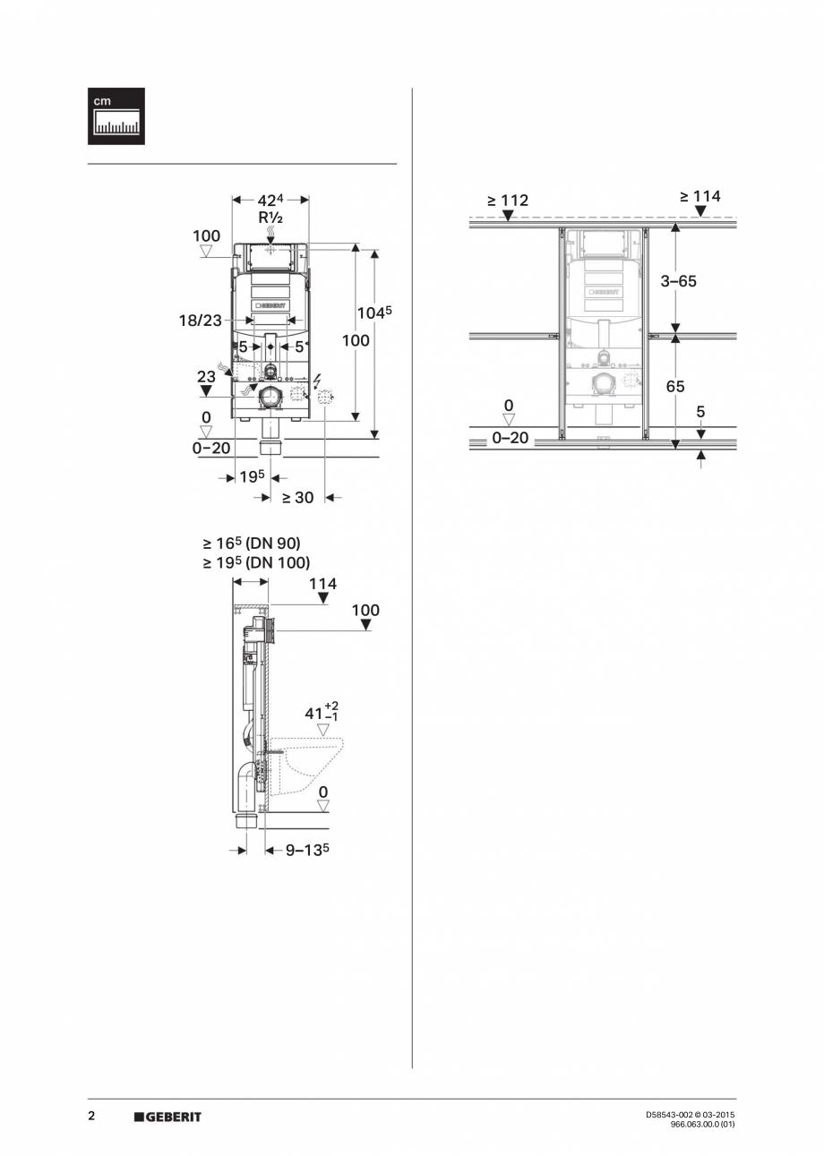 Pagina 2 - Instructiuni de montaj pentru sistemul Geberit GIS GEBERIT Instructiuni montaj, utilizare...