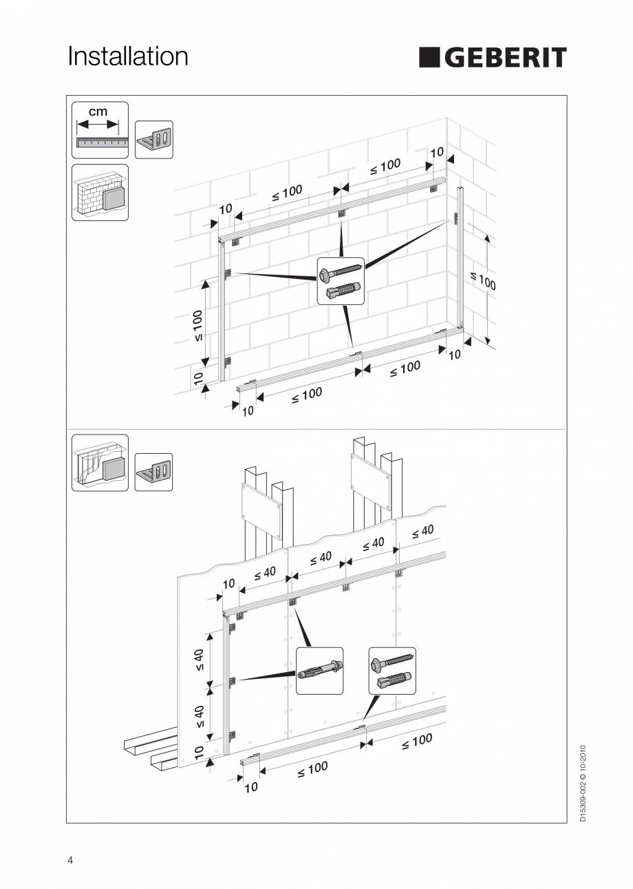 Pagina 4 - Instructiuni de instalare a sistemului GIS GEBERIT Instructiuni montaj, utilizare Engleza...