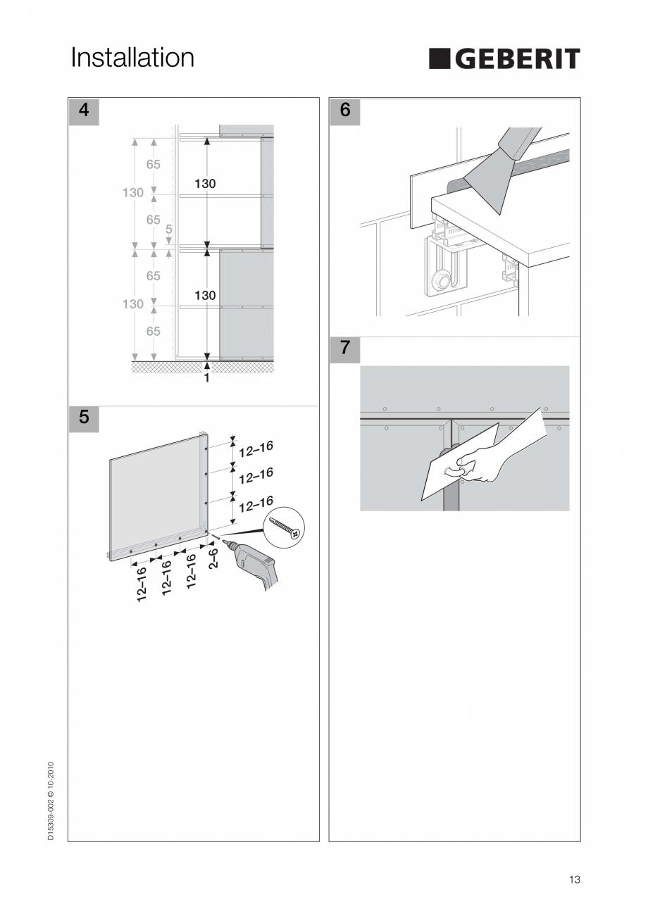 Pagina 13 - Instructiuni de instalare a sistemului GIS GEBERIT Instructiuni montaj, utilizare...
