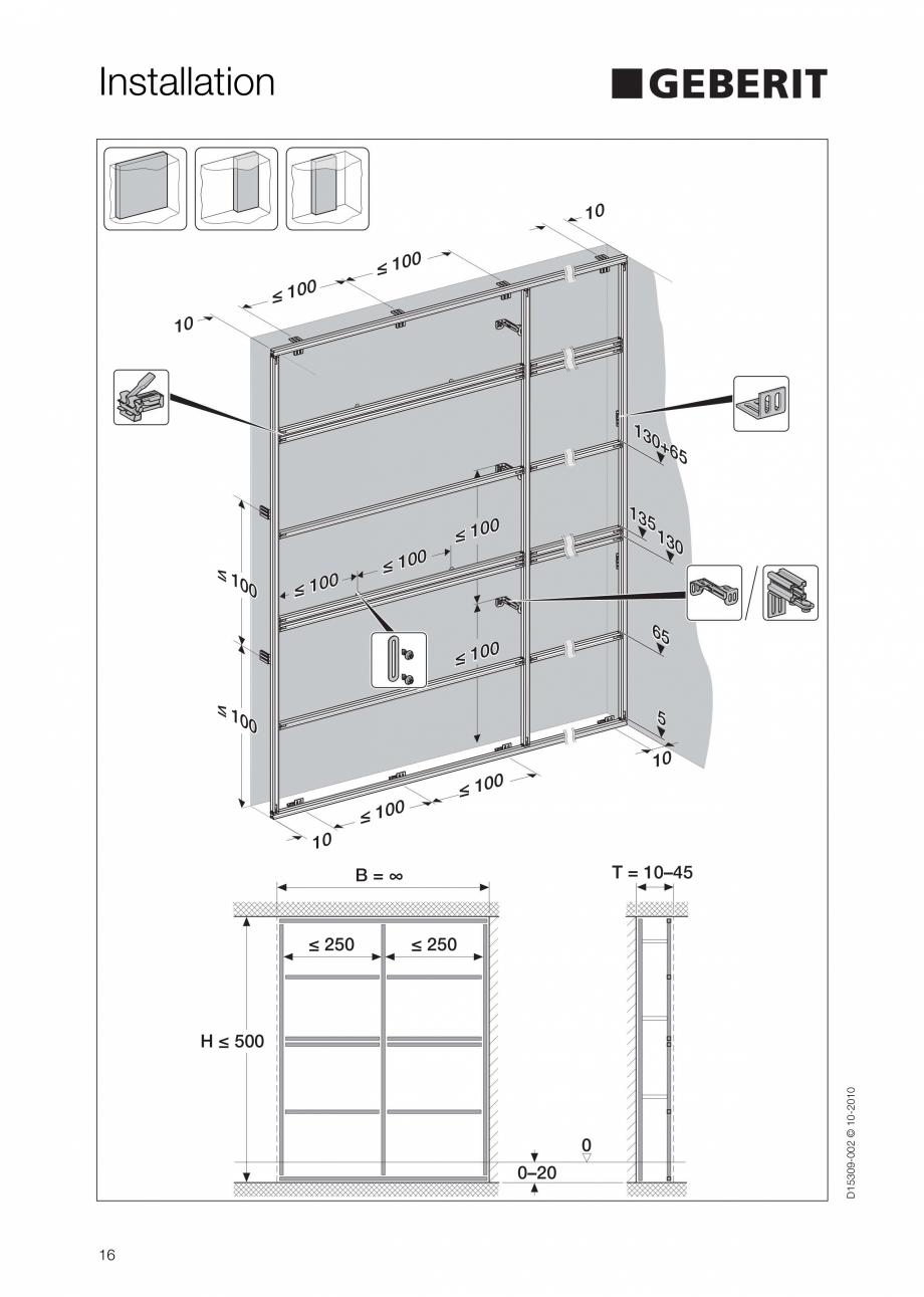 Pagina 16 - Instructiuni de instalare a sistemului GIS GEBERIT Instructiuni montaj, utilizare...