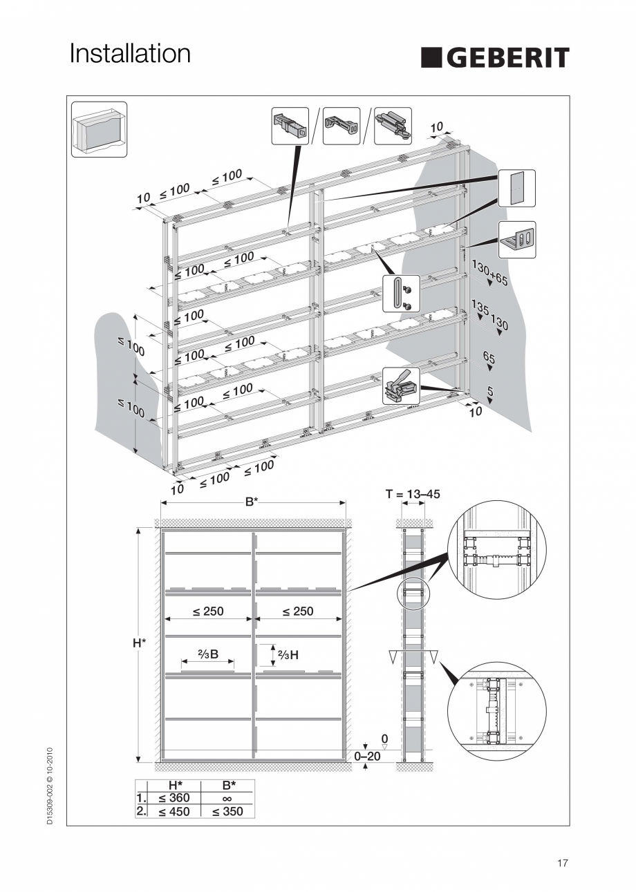 Pagina 17 - Instructiuni de instalare a sistemului GIS GEBERIT Instructiuni montaj, utilizare...