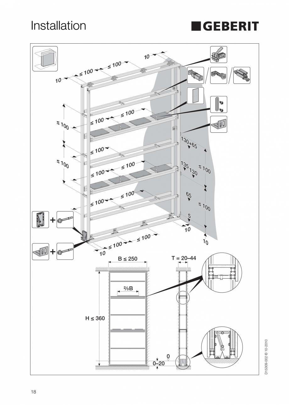 Pagina 18 - Instructiuni de instalare a sistemului GIS GEBERIT Instructiuni montaj, utilizare...