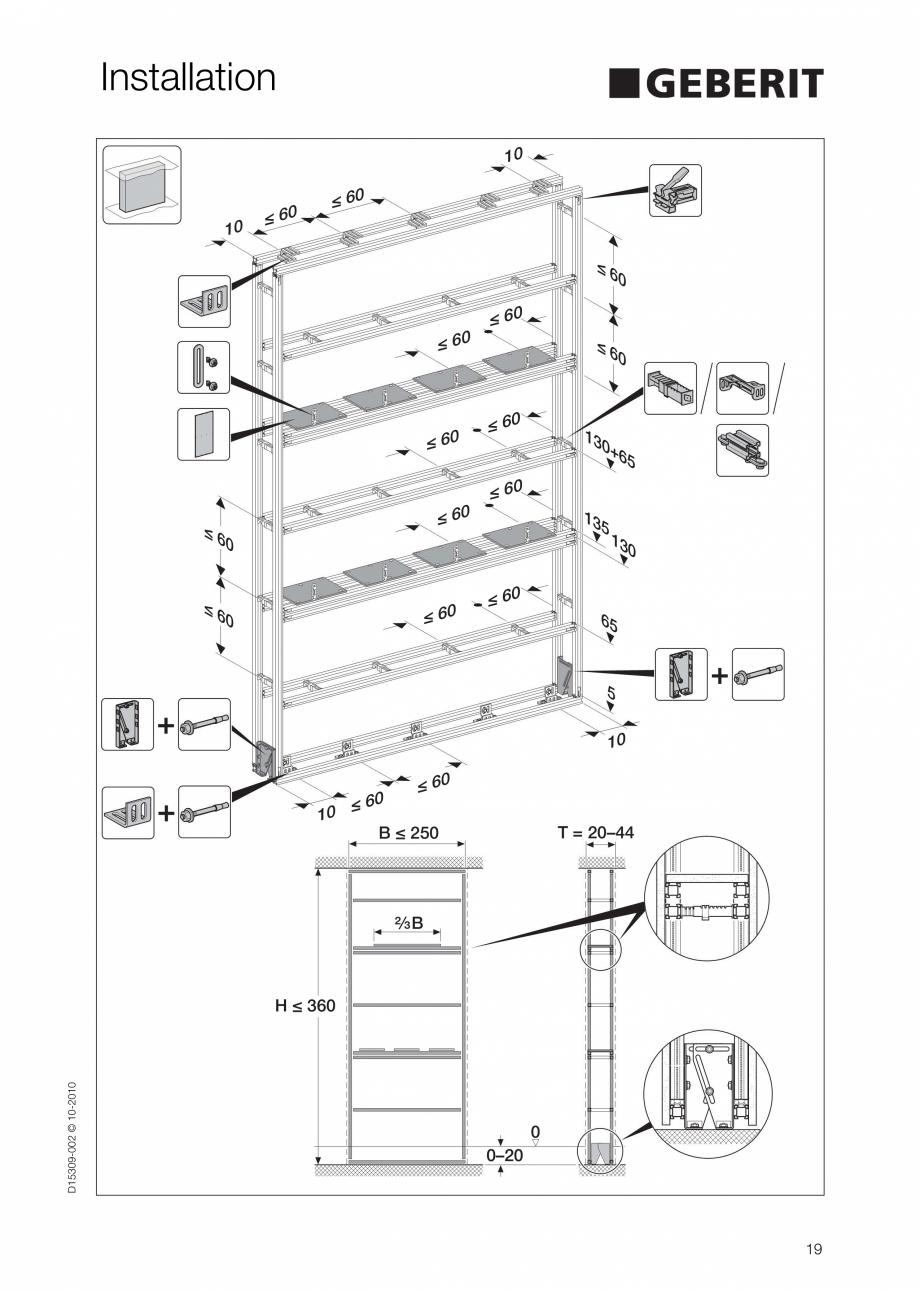 Pagina 19 - Instructiuni de instalare a sistemului GIS GEBERIT Instructiuni montaj, utilizare...