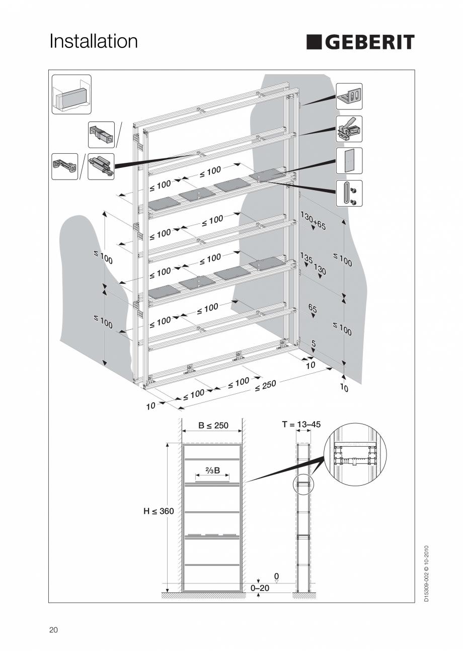 Pagina 20 - Instructiuni de instalare a sistemului GIS GEBERIT Instructiuni montaj, utilizare...