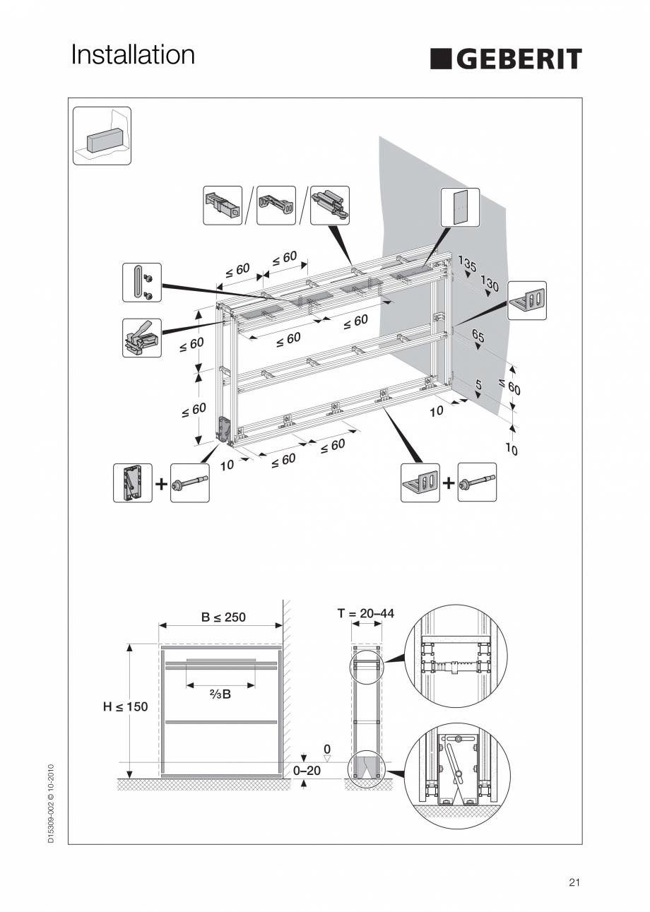 Pagina 21 - Instructiuni de instalare a sistemului GIS GEBERIT Instructiuni montaj, utilizare...