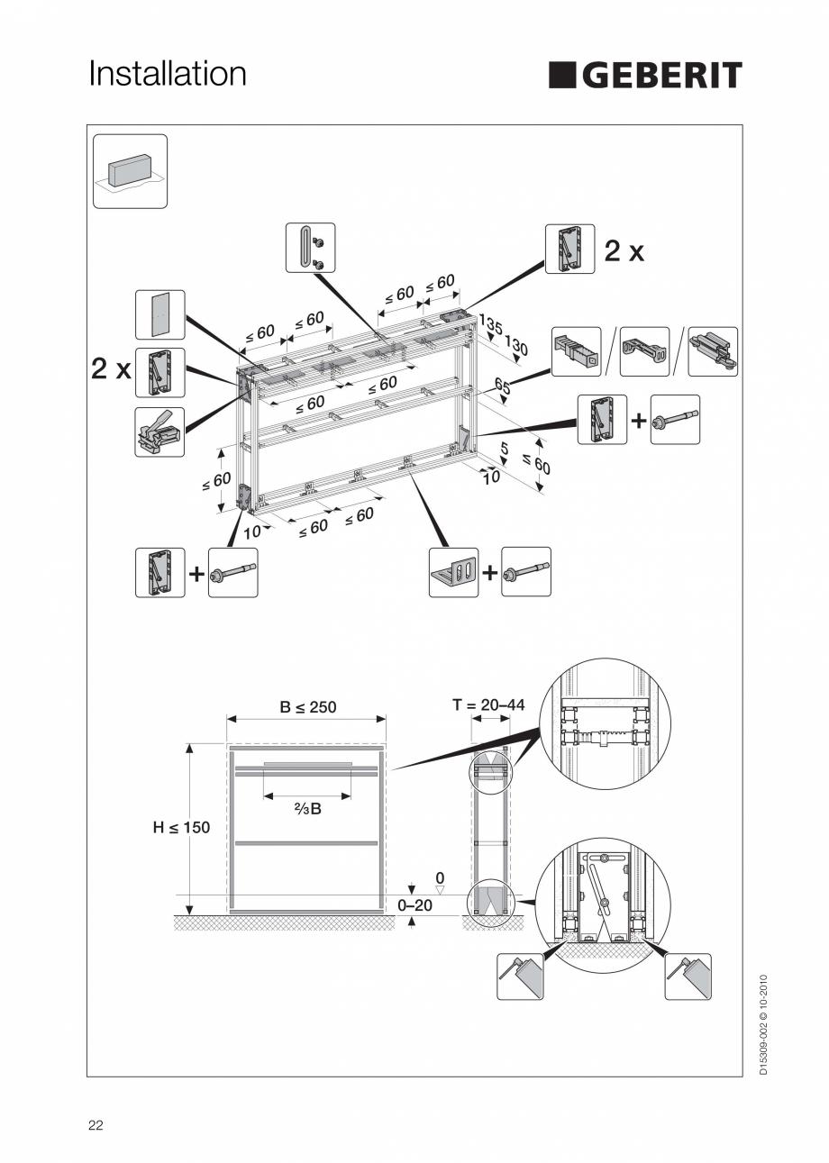 Pagina 22 - Instructiuni de instalare a sistemului GIS GEBERIT Instructiuni montaj, utilizare...