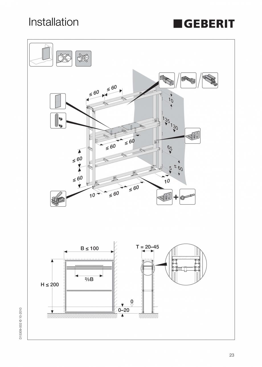 Pagina 23 - Instructiuni de instalare a sistemului GIS GEBERIT Instructiuni montaj, utilizare...