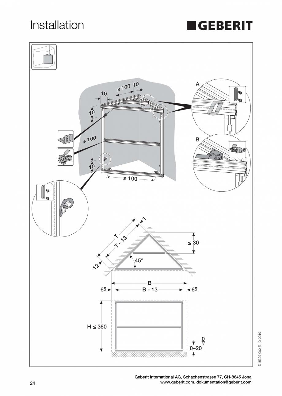 Pagina 24 - Instructiuni de instalare a sistemului GIS GEBERIT Instructiuni montaj, utilizare...