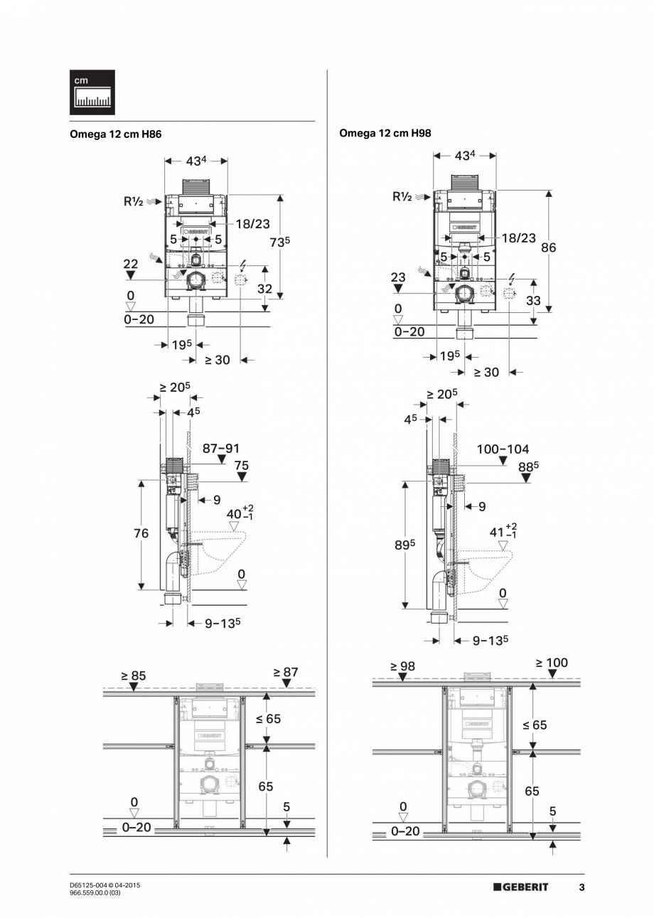 Pagina 3 - Instructiuni de montaj pentru elementul de instalare Geberit GIS, pentru WC suspendat...
