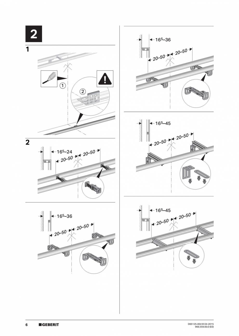 Pagina 6 - Instructiuni de montaj pentru elementul de instalare Geberit GIS, pentru WC suspendat...