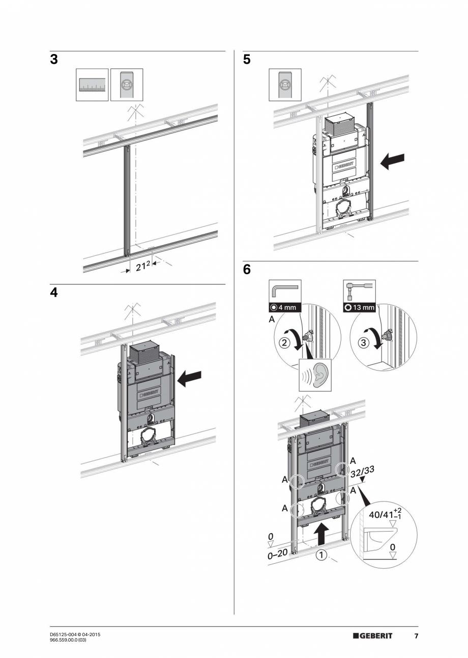 Pagina 7 - Instructiuni de montaj pentru elementul de instalare Geberit GIS, pentru WC suspendat...