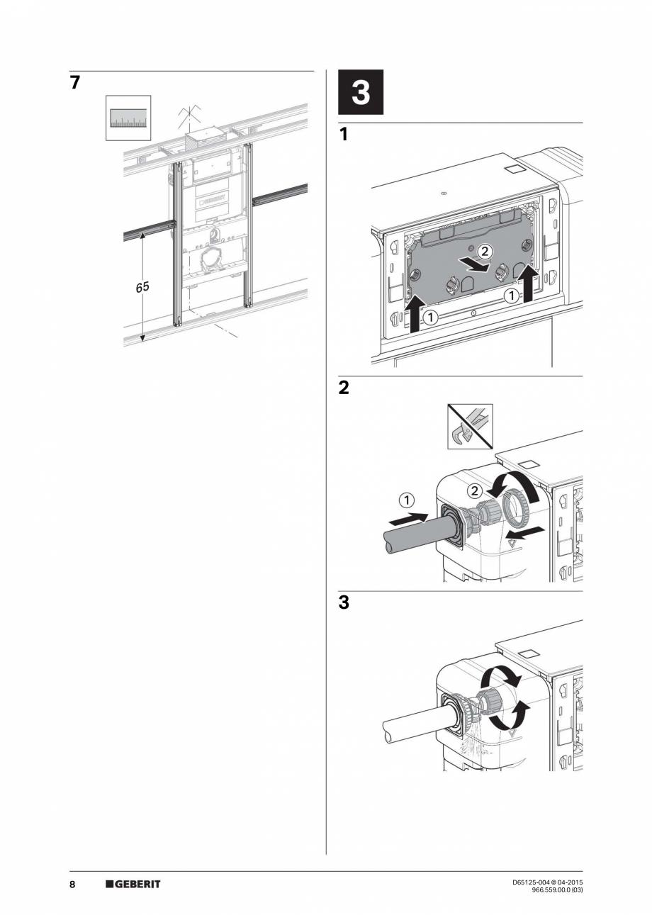 Pagina 8 - Instructiuni de montaj pentru elementul de instalare Geberit GIS, pentru WC suspendat...