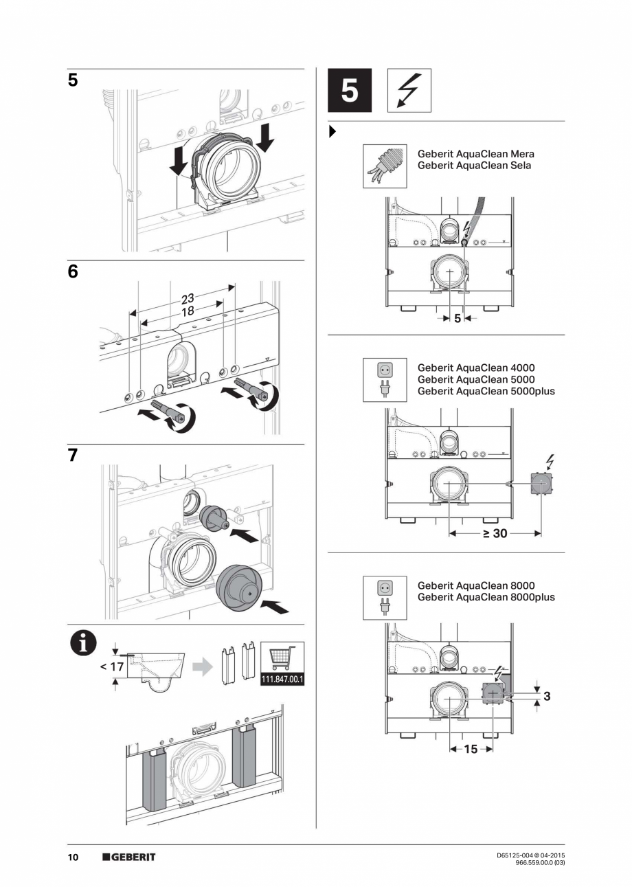 Pagina 10 - Instructiuni de montaj pentru elementul de instalare Geberit GIS, pentru WC suspendat...