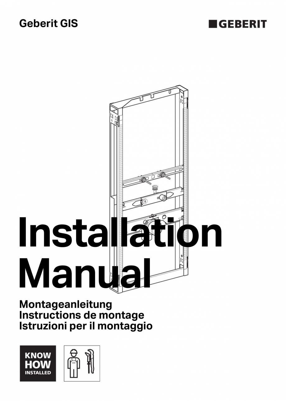 Pagina 1 - Manual de instalare pentru  element  Geberit GIS pentru pisoar, universal, pentru sistem ...