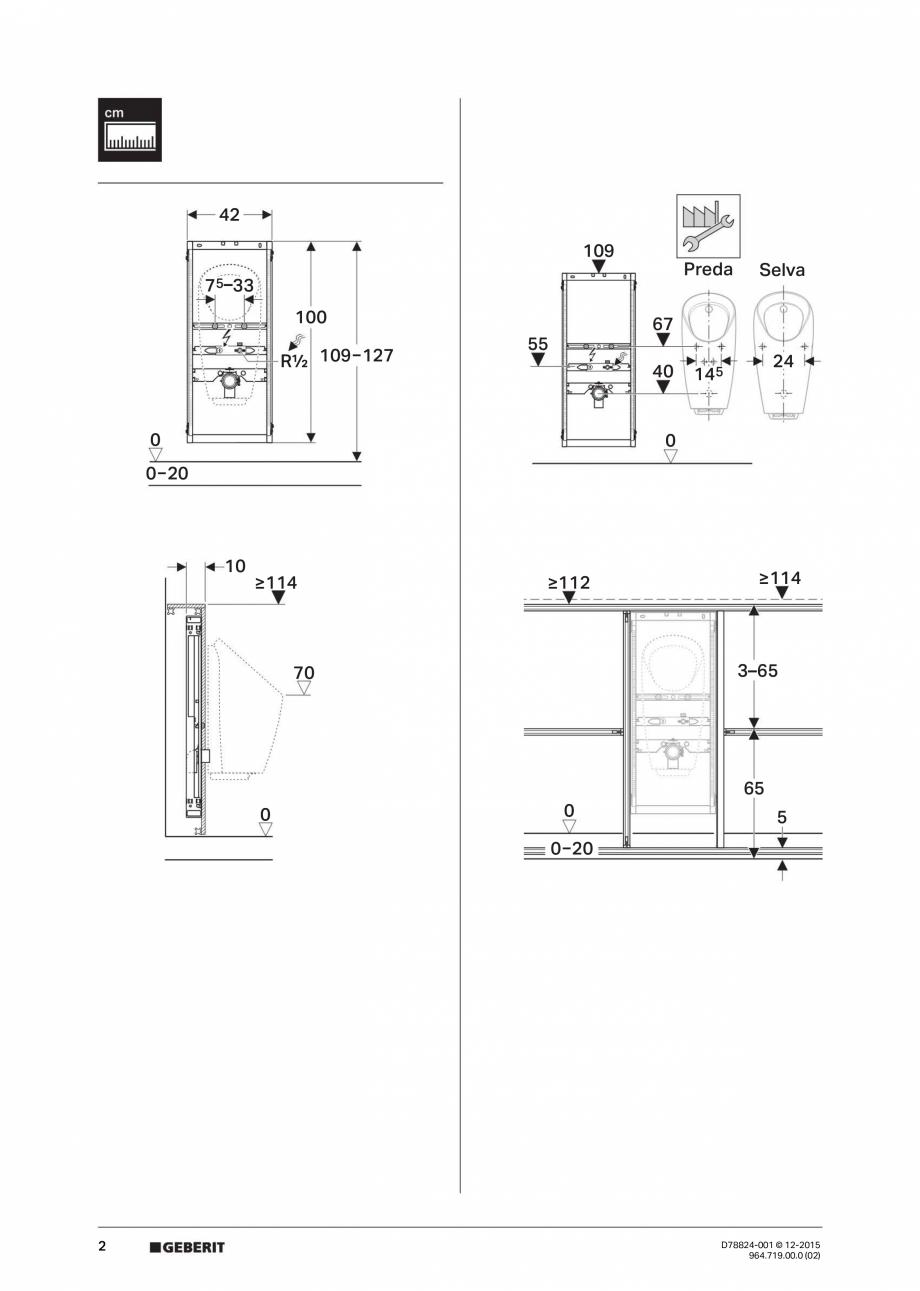 Pagina 2 - Manual de instalare pentru  element  Geberit GIS pentru pisoar, universal, pentru sistem ...