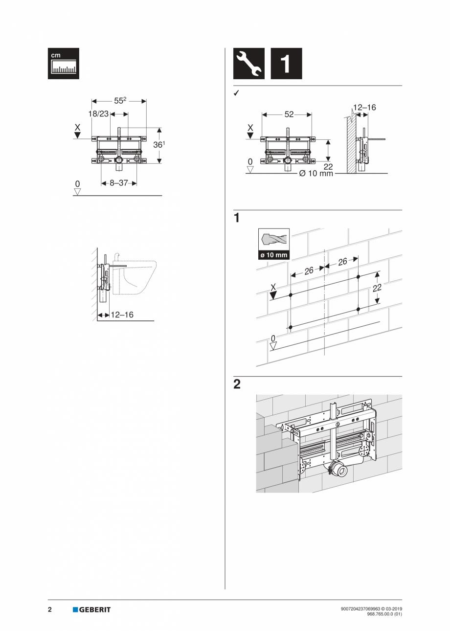 Pagina 2 - Instructiuni de instalare pentru elementul Geberit Kombifix pentru bideu, universal ...