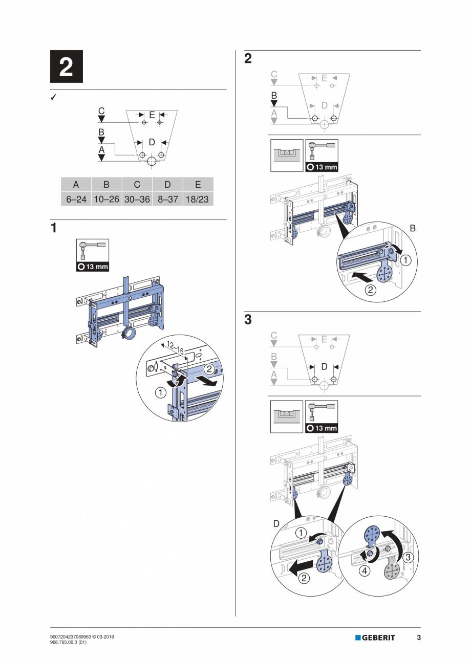 Pagina 3 - Instructiuni de instalare pentru elementul Geberit Kombifix pentru bideu, universal ...