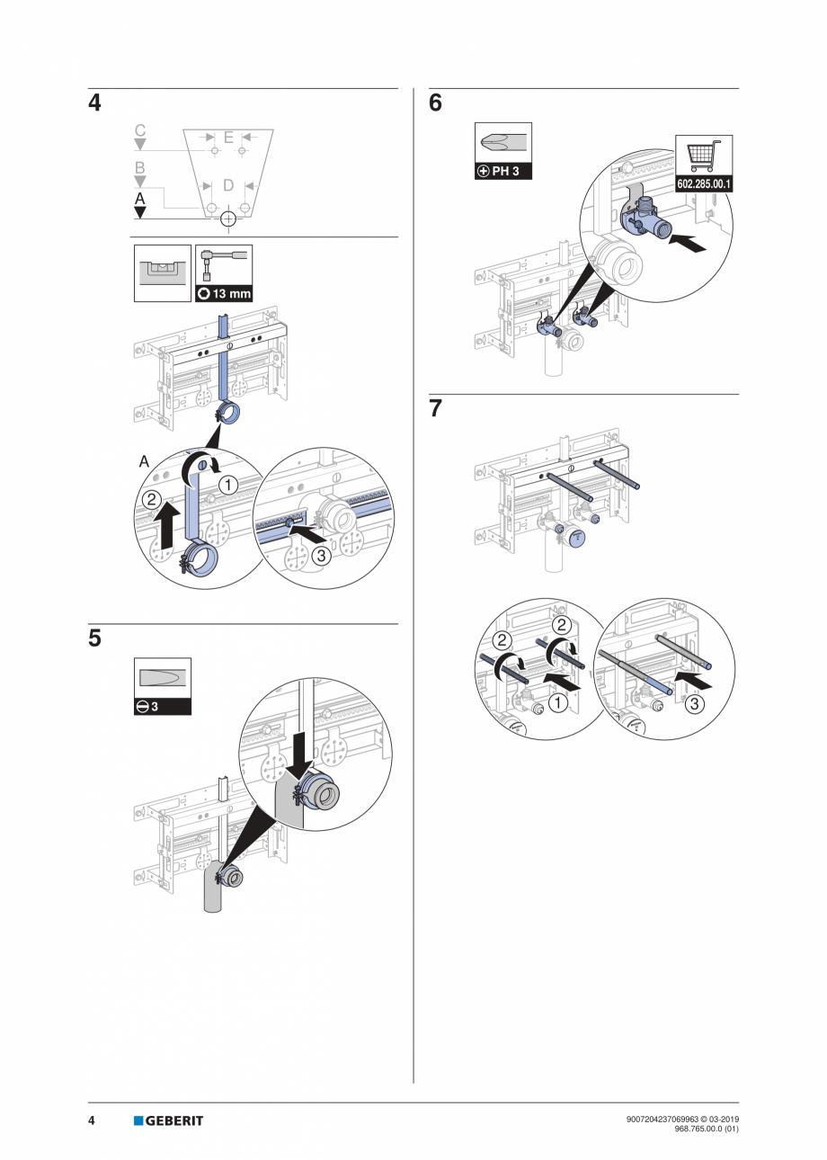Pagina 4 - Instructiuni de instalare pentru elementul Geberit Kombifix pentru bideu, universal ...